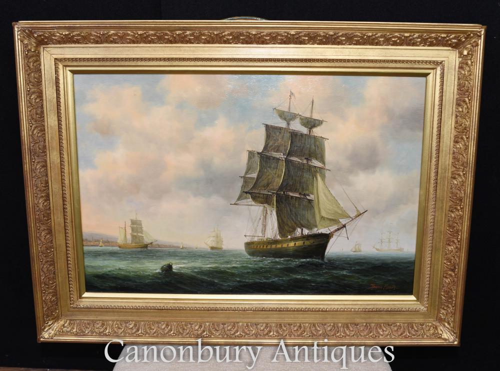 Peinture à l'huile victorienne Bristol Channel Clipper Maritime Seascape