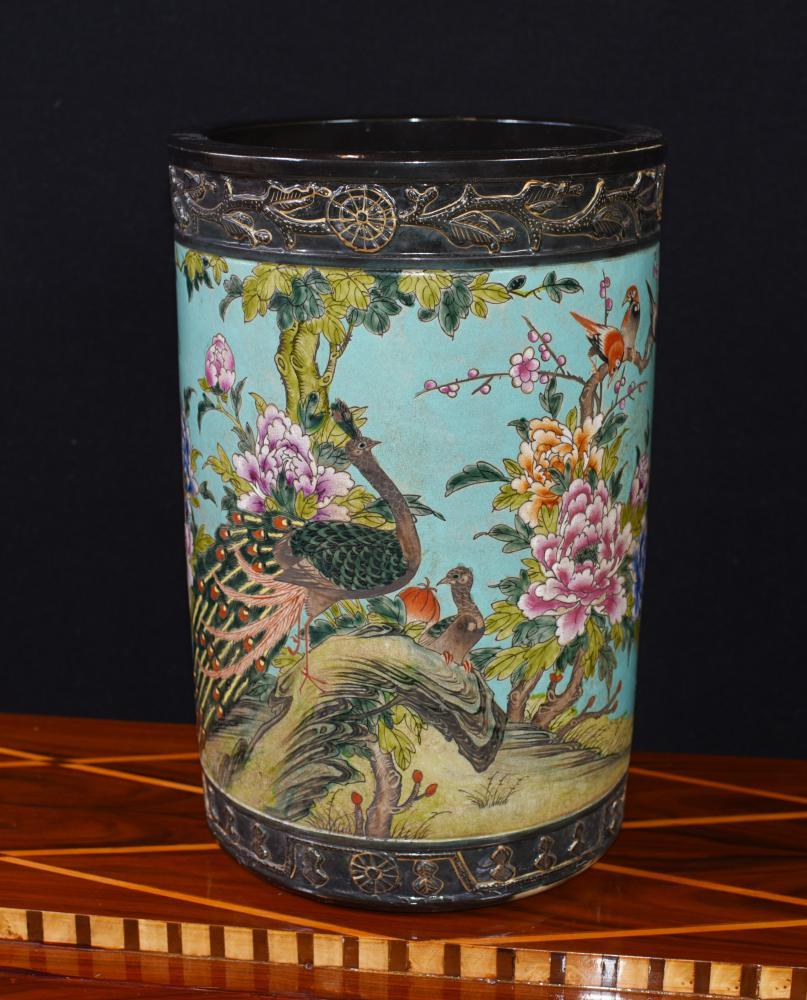 Porte-parapluie en Porcelaine Japonaise Famille Jaune Vase Urne