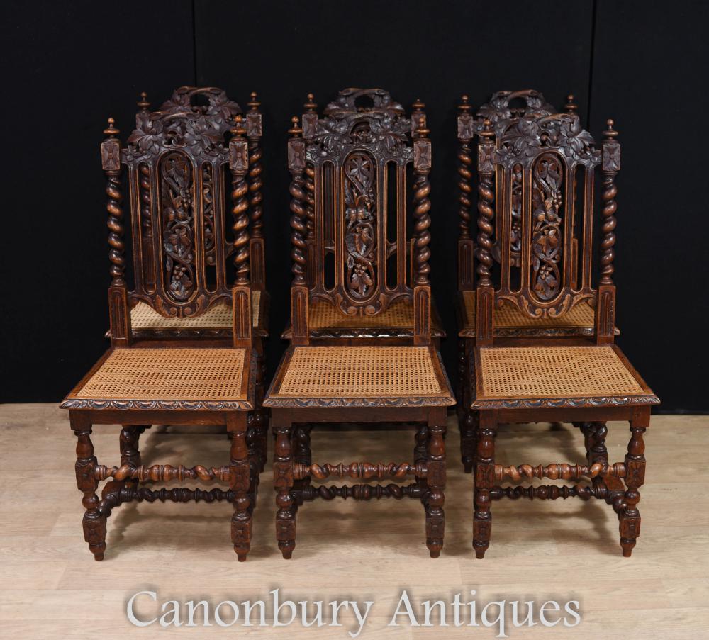 Set 6 chaises de salle à manger en chêne anglais orangé