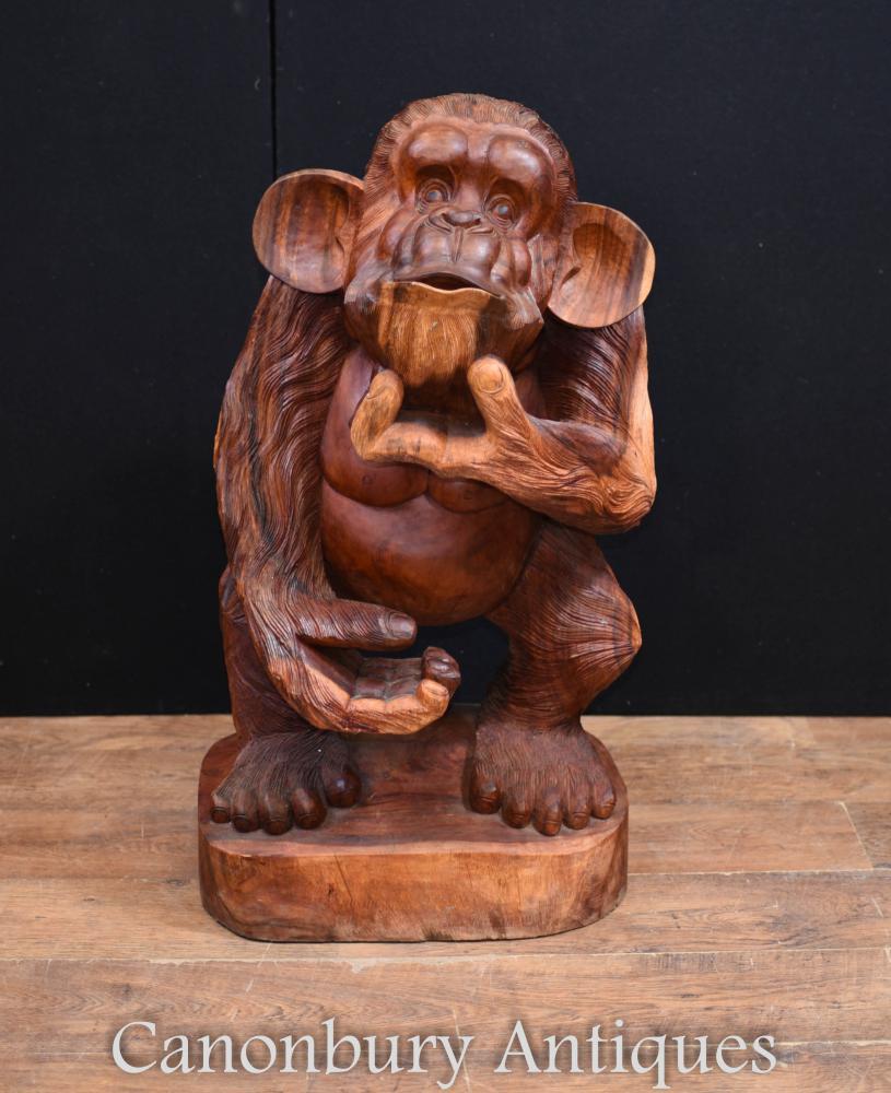 Statue de singe effronté sculpté à la main Sculpture de forêt noire