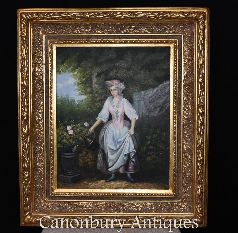 Victorienne peinture à l'huile jardinage Lady portrait cadre doré