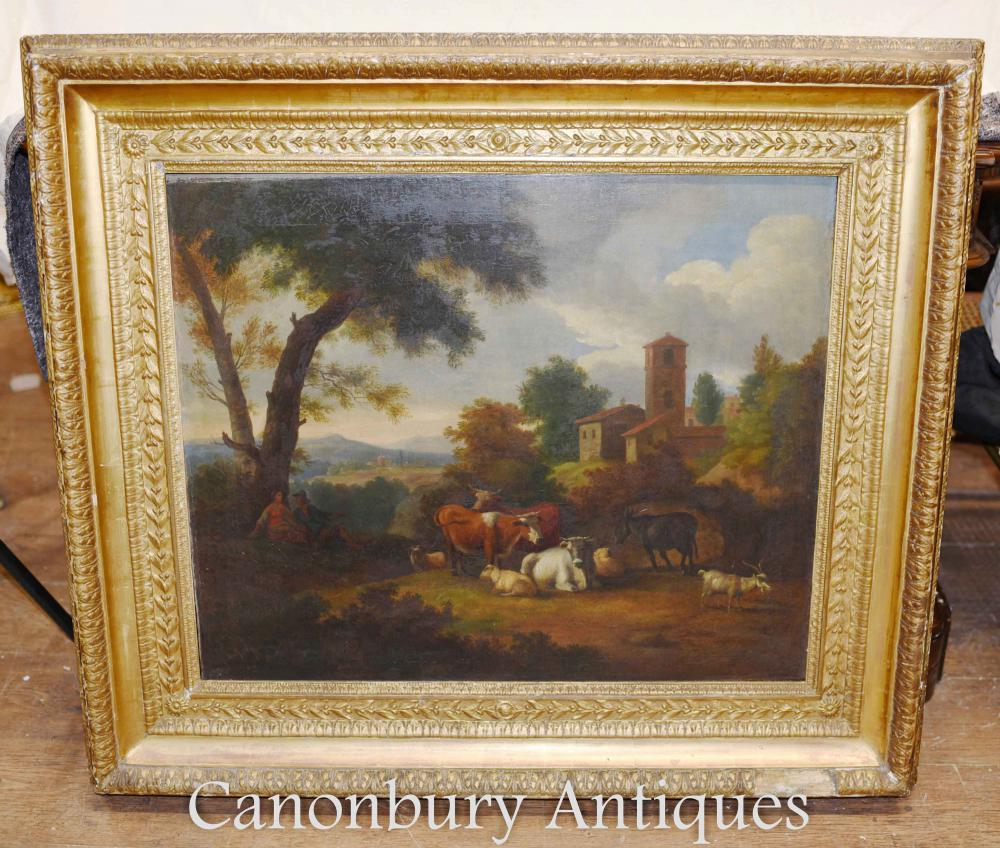 Antique Victorian Oil Painting Paysage pastoral Manner Constable