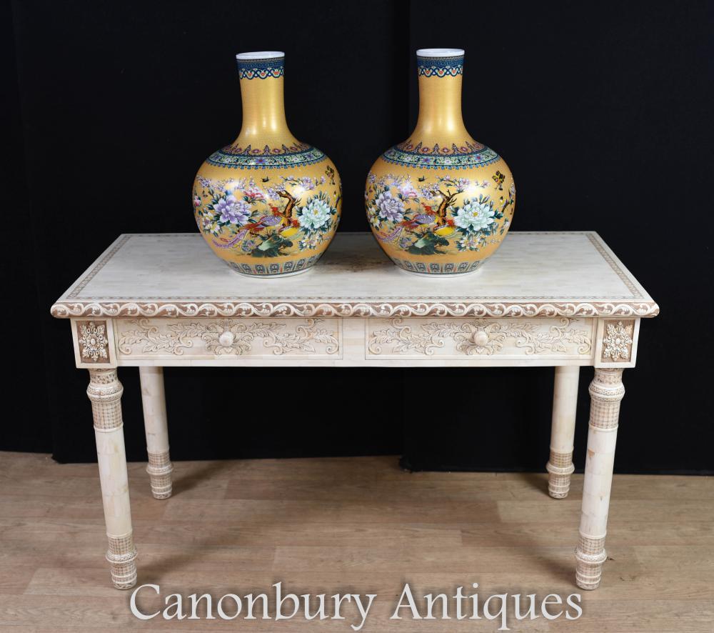 Bureau d'os de table bibliothèque sculpté à la main chinoise