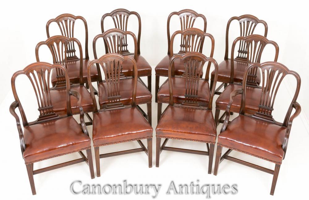 Chaises de Salle à Manger Antique Hepplewhite - Ensemble de 12 Chaises en Acajou 1880