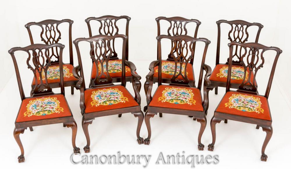Chaises de salle à manger Chippendale - Ensemble d'acajou antique 8