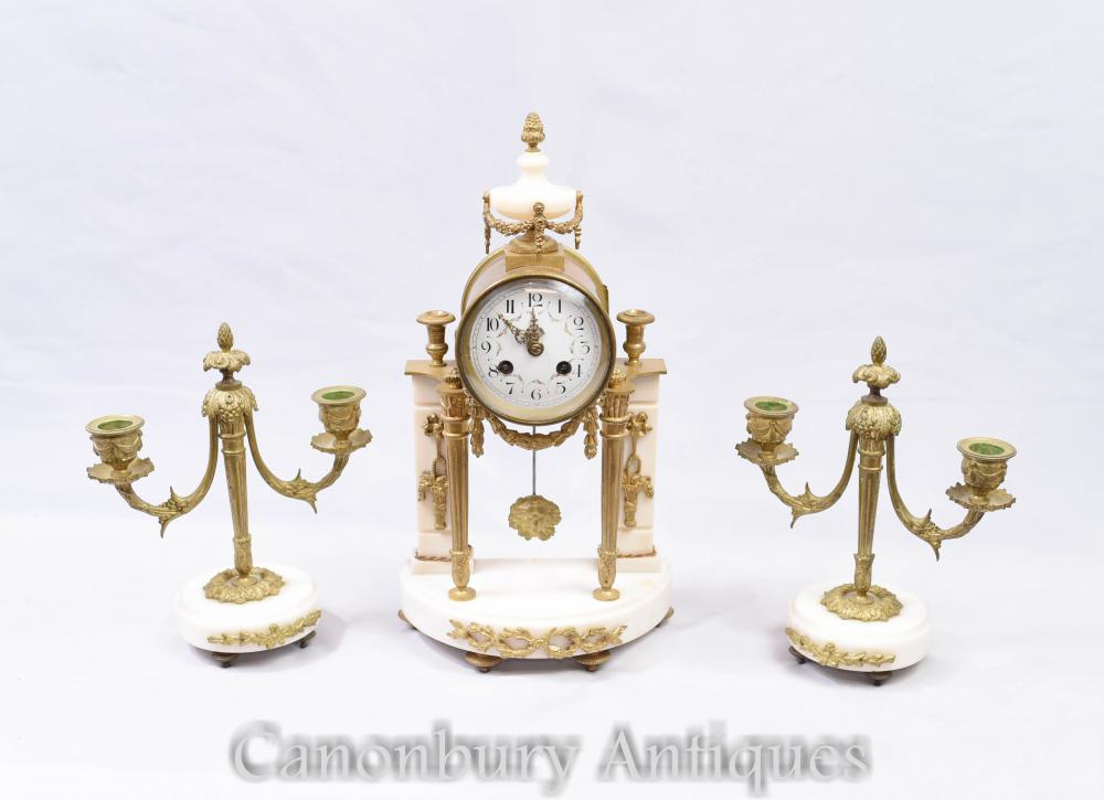 Ensemble Garniture Pendule Empire - Candélabres en Marbre Ormolu