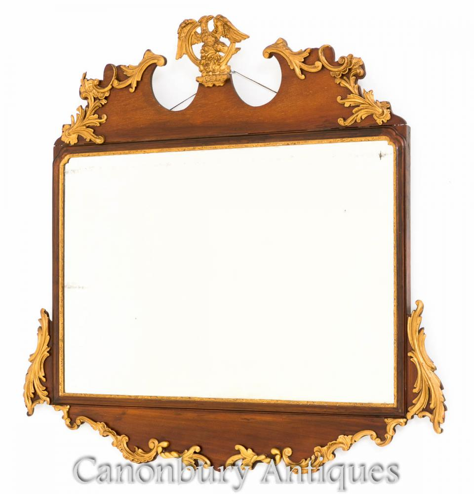 Georgian Mantle Miroir En Acajou Doré 1880