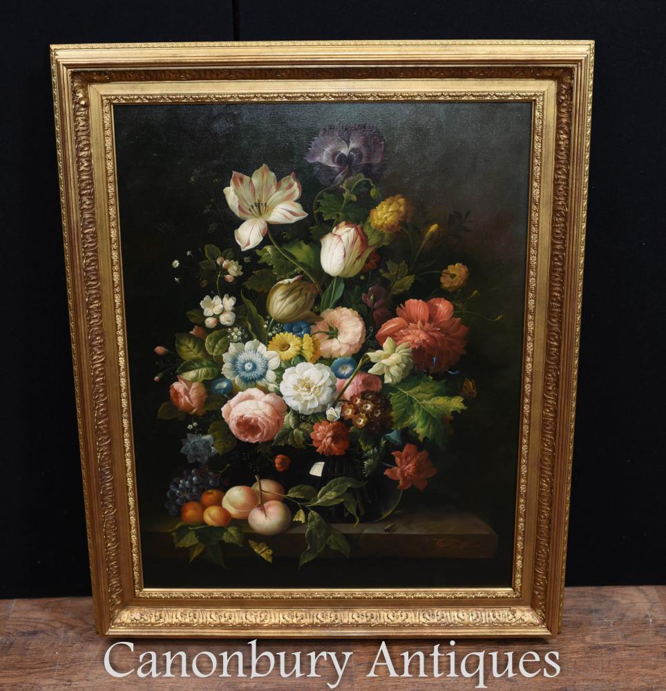 Grande peinture à l'huile florale de pulvérisation Art victorien