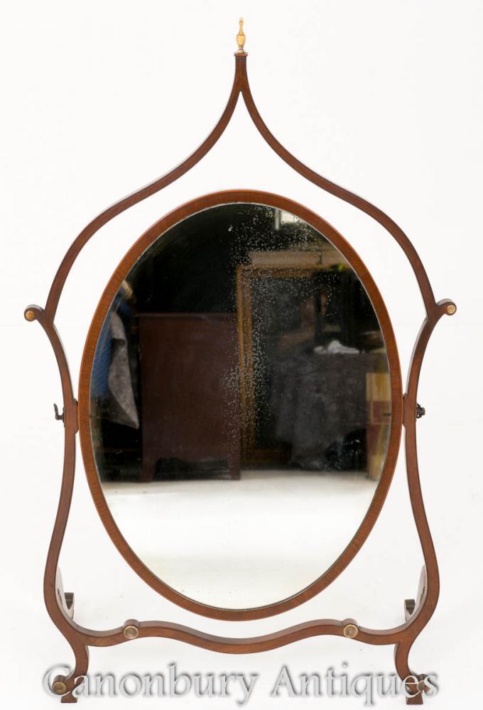 Hepplewhite Cheval Miroir Acajou 1890