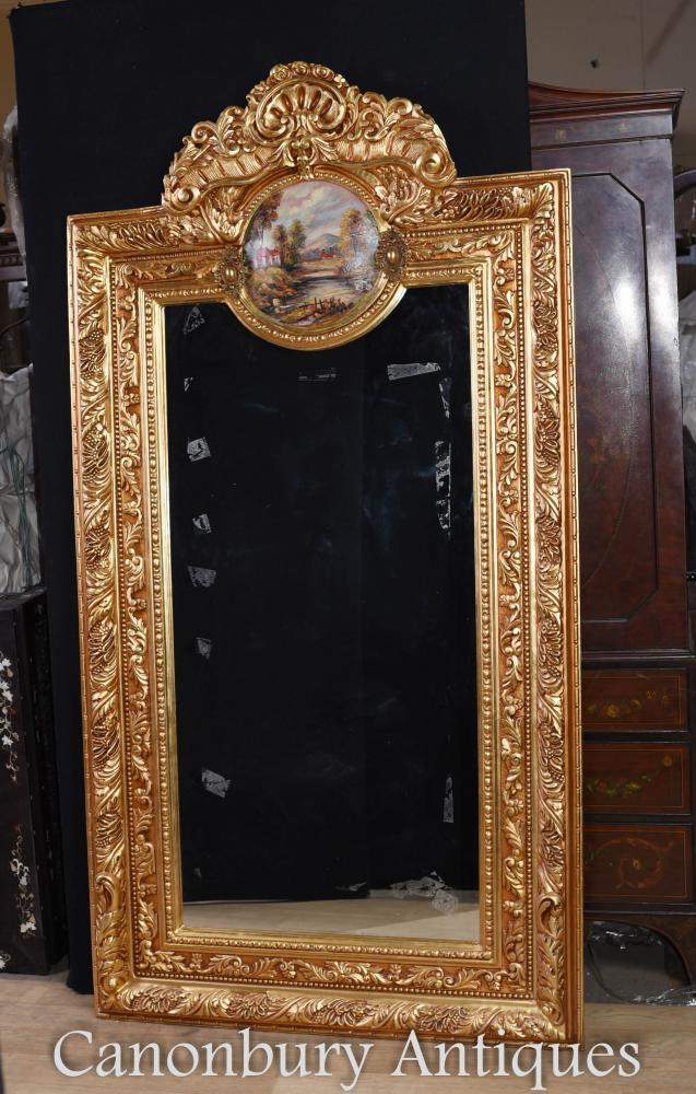Miroir Français Doré Pierré Plaque Louis XV Peinte