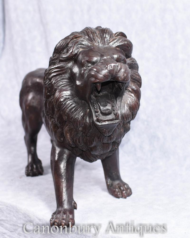 Paire Bronze Lions Italien Médicis Statues De Chat