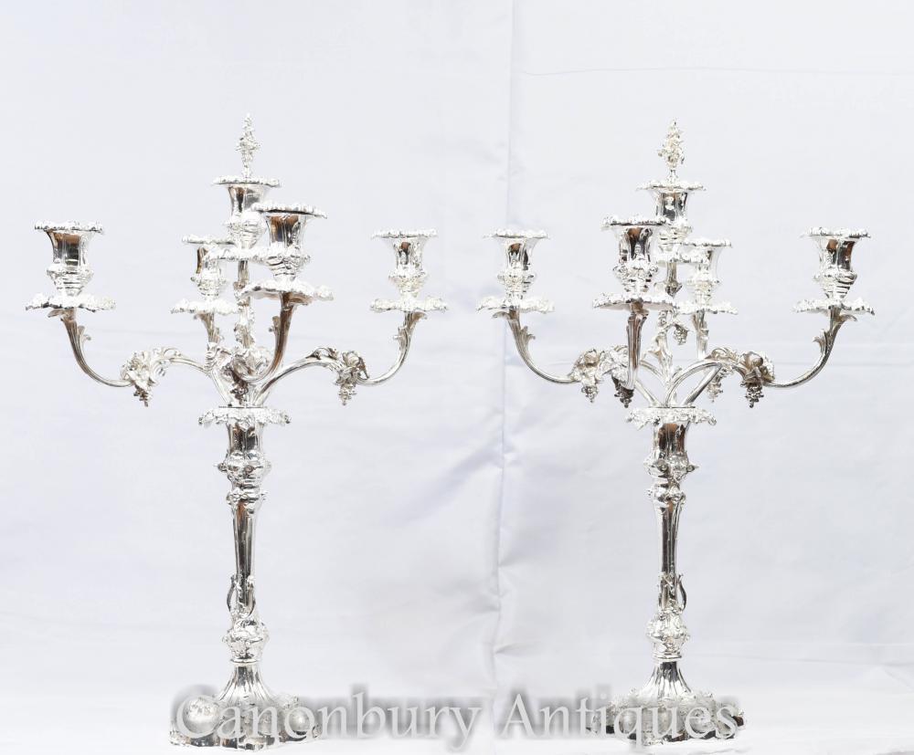 Paire de Candélabres Rococo en Argent - Bougies Sheffield