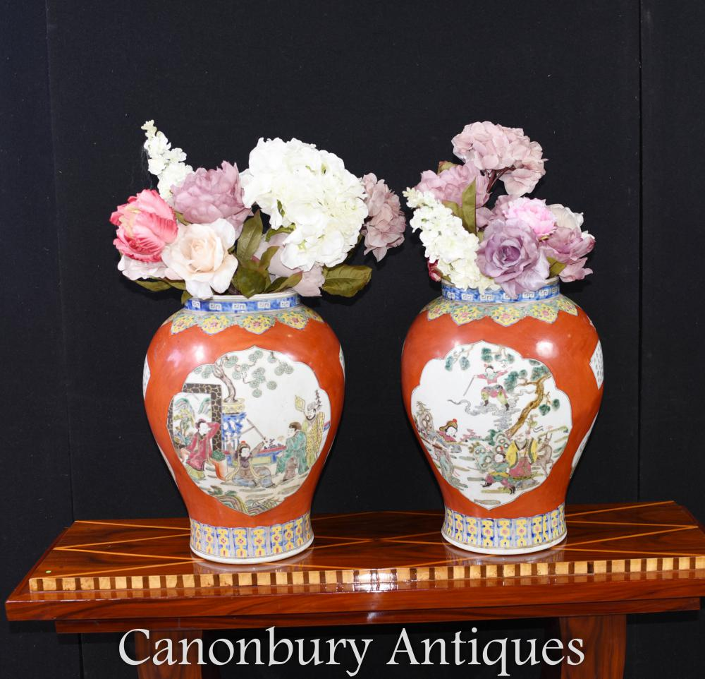 Paire de Vases en Porcelaine Qing Chinois - Temple Jars Imperial Red