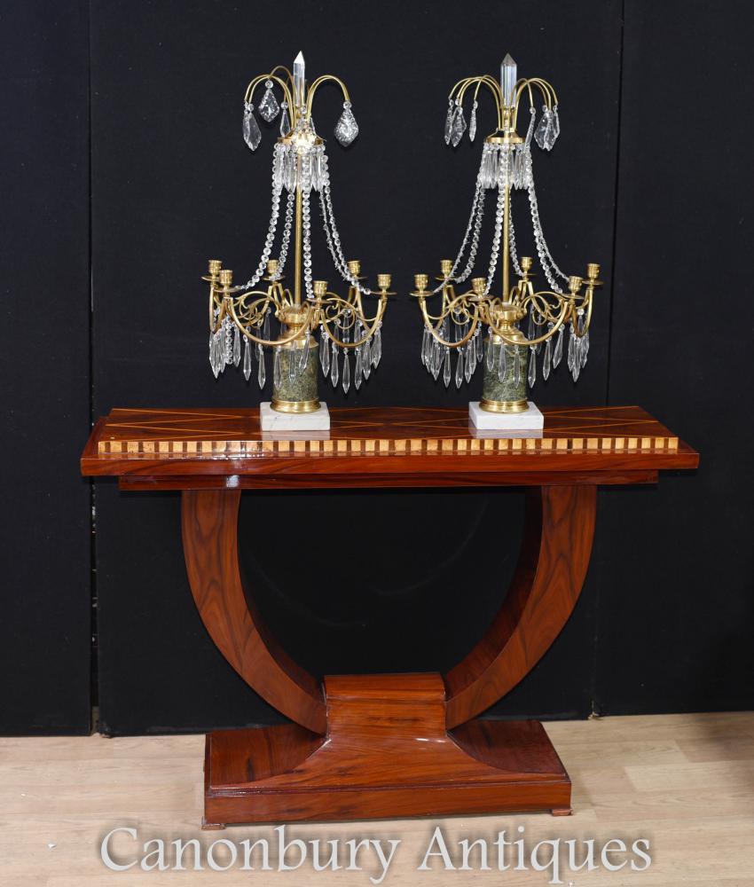 Paire de candélabres Empire en bronze doré Lustres