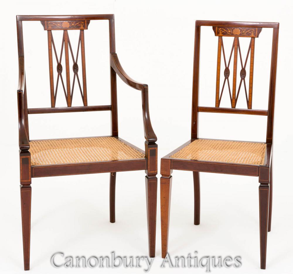 Paire de chaises de bureau Sheraton en acajou 1890