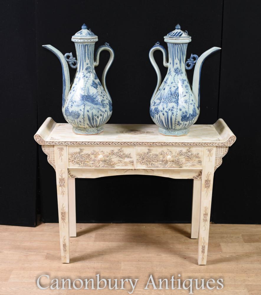 Paire de cruche chinoises en porcelaine bleue et blanche - Urnes de poterie de Nanking