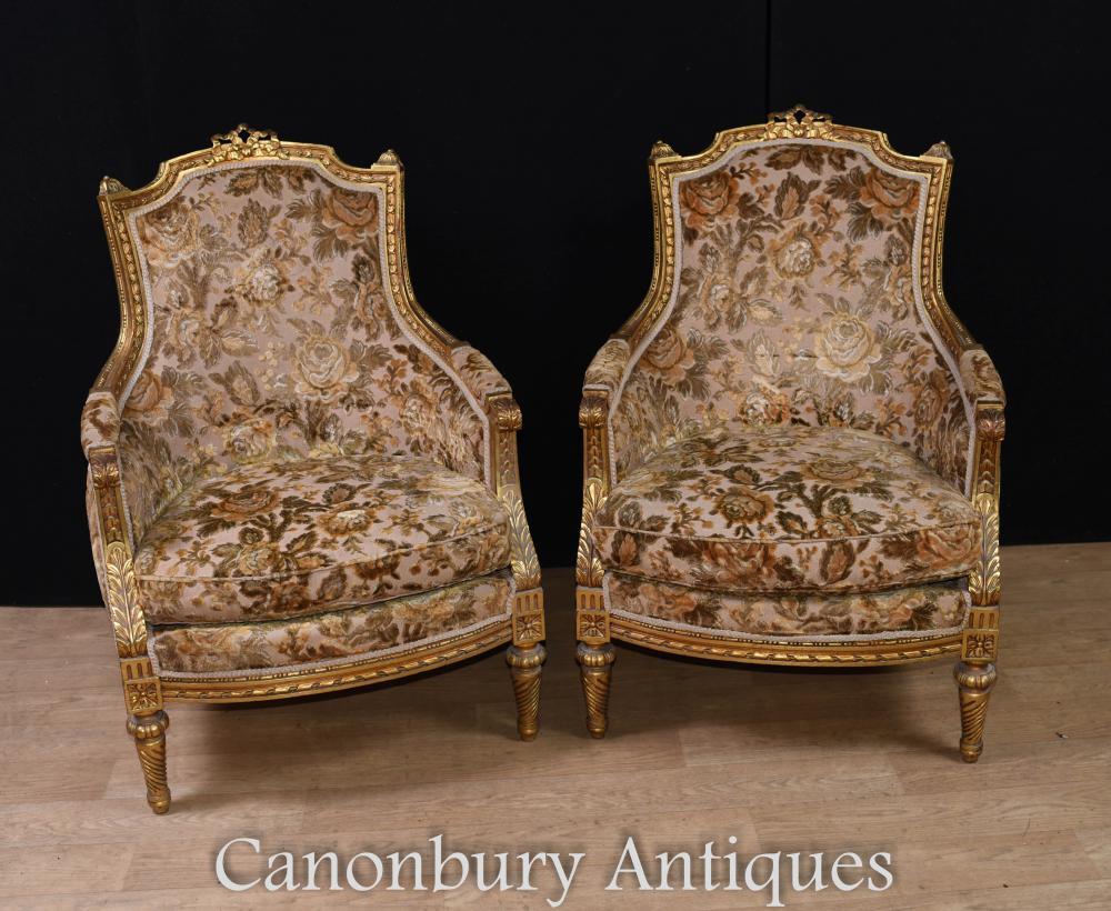 Paire de fauteuils français - Fauteuils dorés en tissu doré