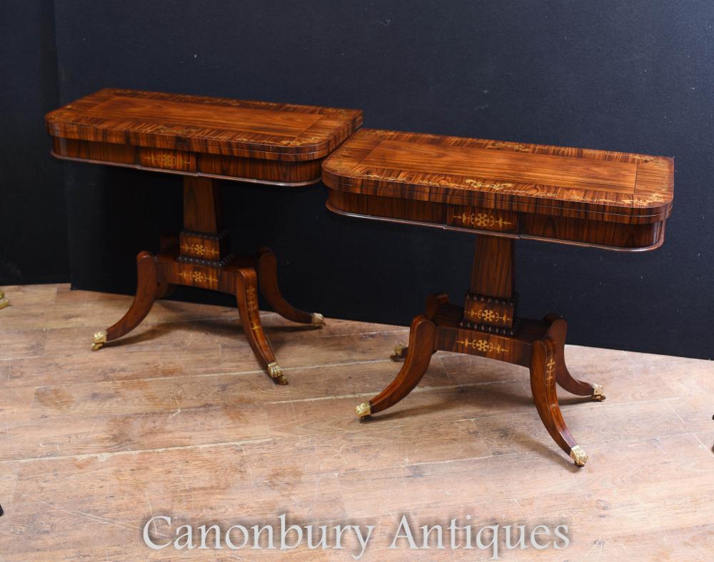 Paire de tables à cartes Régence en palissandre