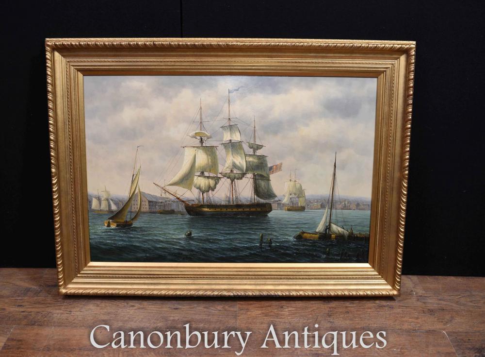 Peinture à l'huile American Clipper Voilier Boston Docks Seascape
