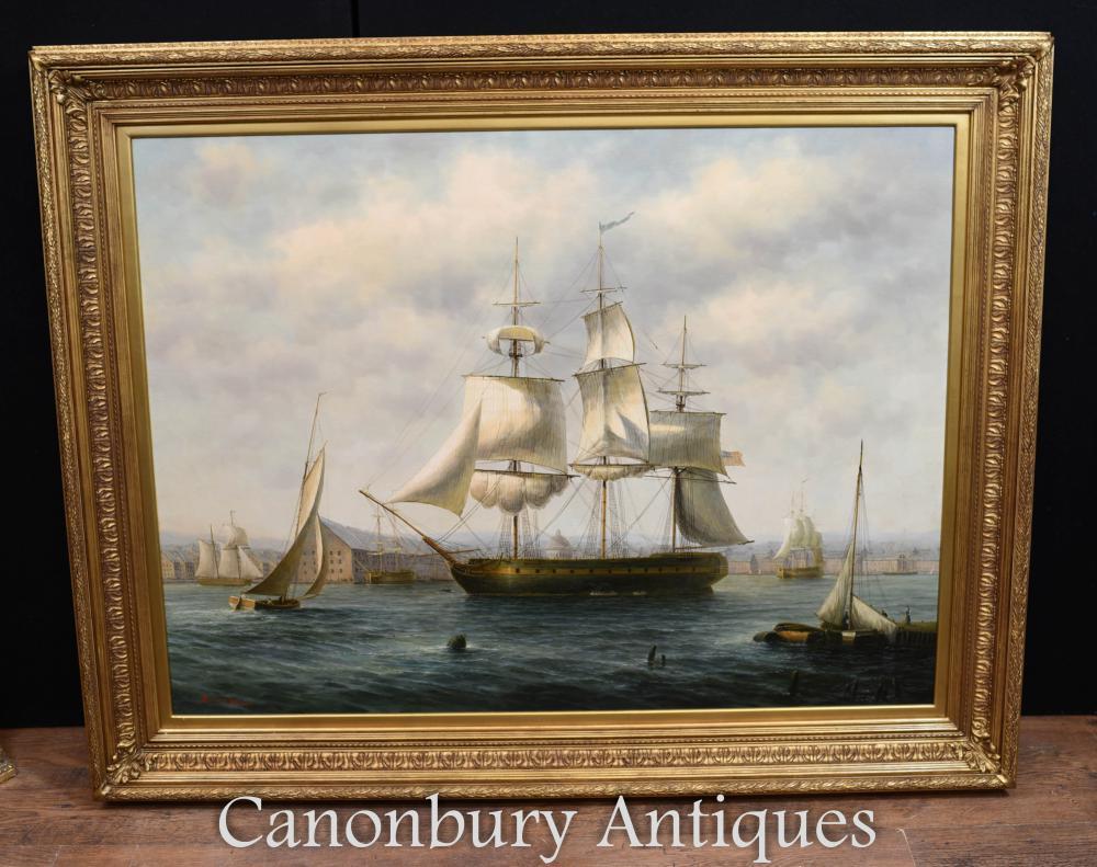 Peinture à l'huile Clipper Sail Boat Liverpool Docks Mersey Victorian