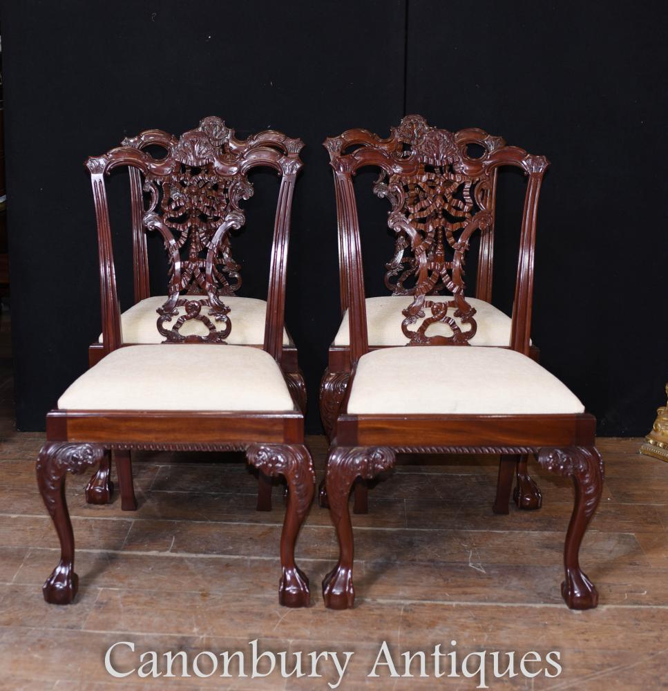 Set Chaises de salle à manger Chippendale en acajou - 8 chaise longue
