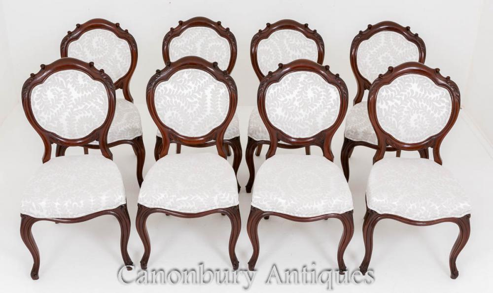 Set chaises de salle à manger victorienne - acajou 8 chaise 1860