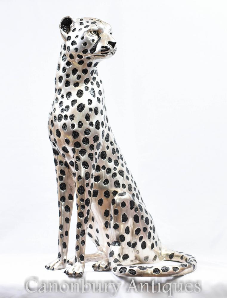 Statue de guépard assis en bronze - Casting léopard de chat animal