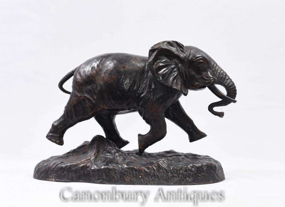 Statue en bronze d'éléphant d'Afrique