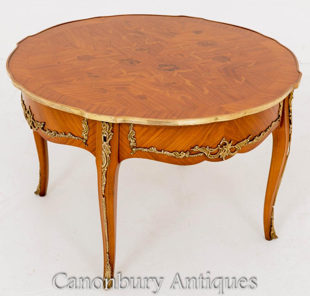 Table Basse Antique de Style Empire en Marqueterie