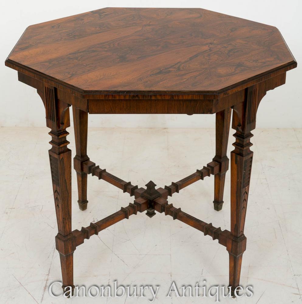 Table d'appoint victorienne octogonale en palissandre
