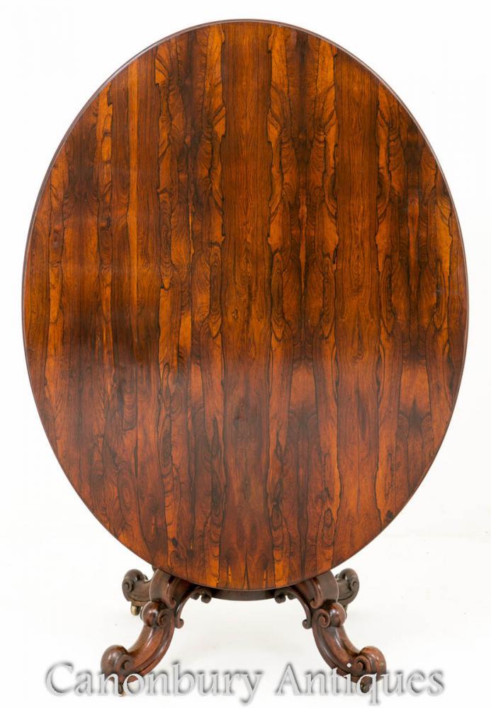 Table de Petit Déjeuner Antique en Palissandre - Tables Latérales à Basculante 1860