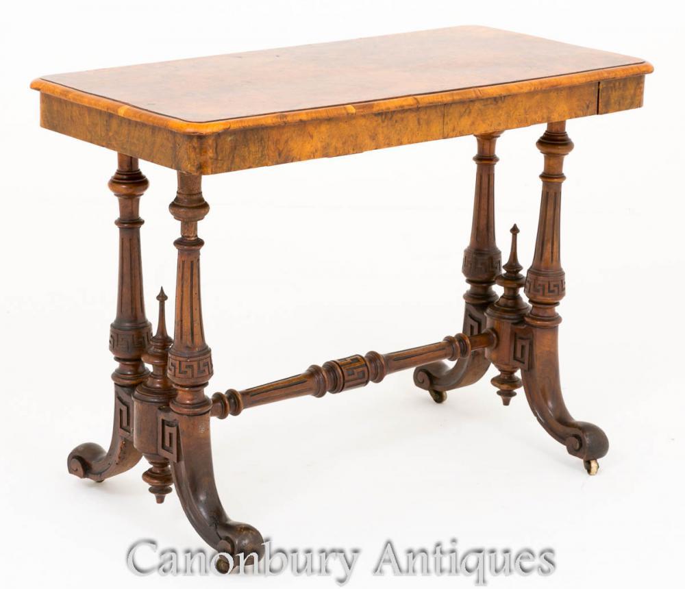 Table de civière victorienne Ronce de noyer Vers 1860