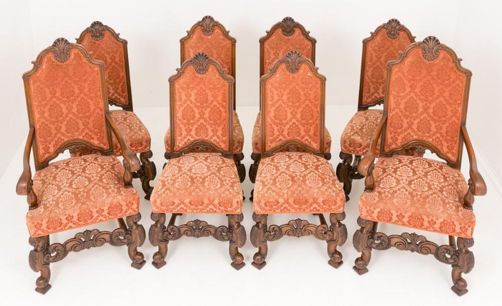8 chaises de salle à manger victoriennes Carolean Circa 1870