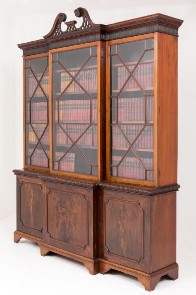 Bibliothèque victorienne Breakfront en acajou vers 1880