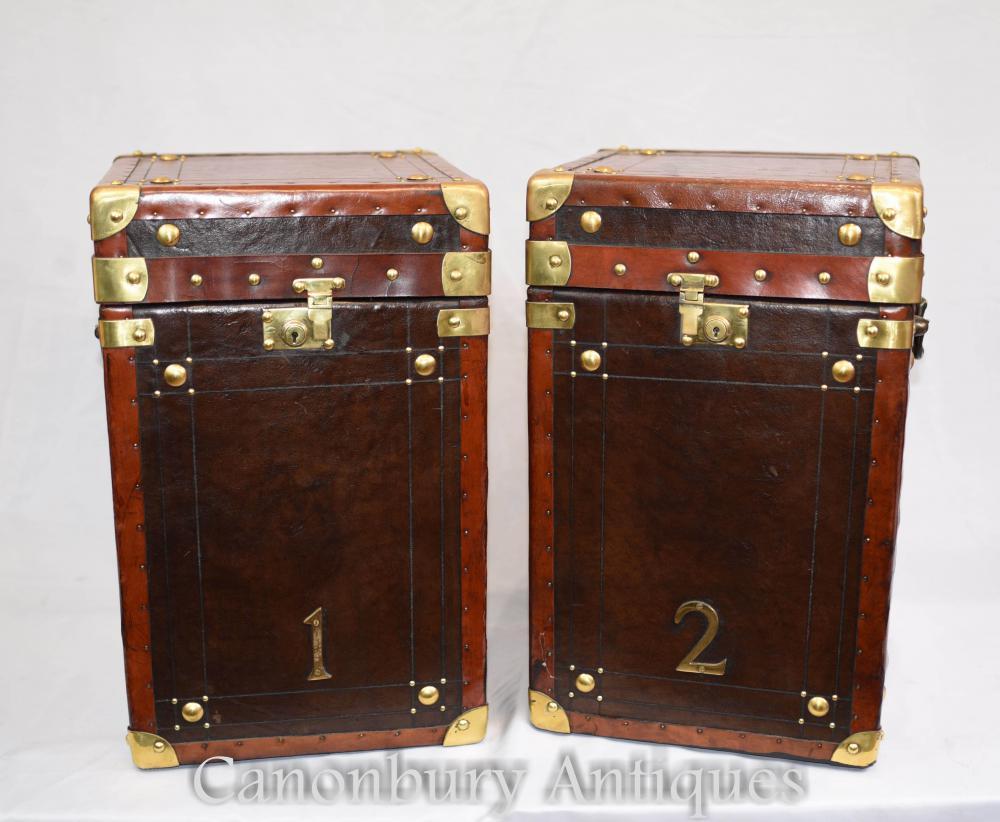 Paire de valises de valises de coffre à vapeur en cuir