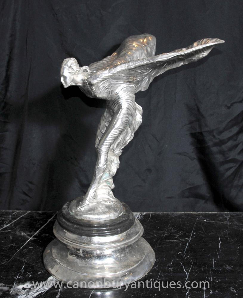 Art Nouveau Statue Flying Lady Bronze Argenté Figurine Déco
