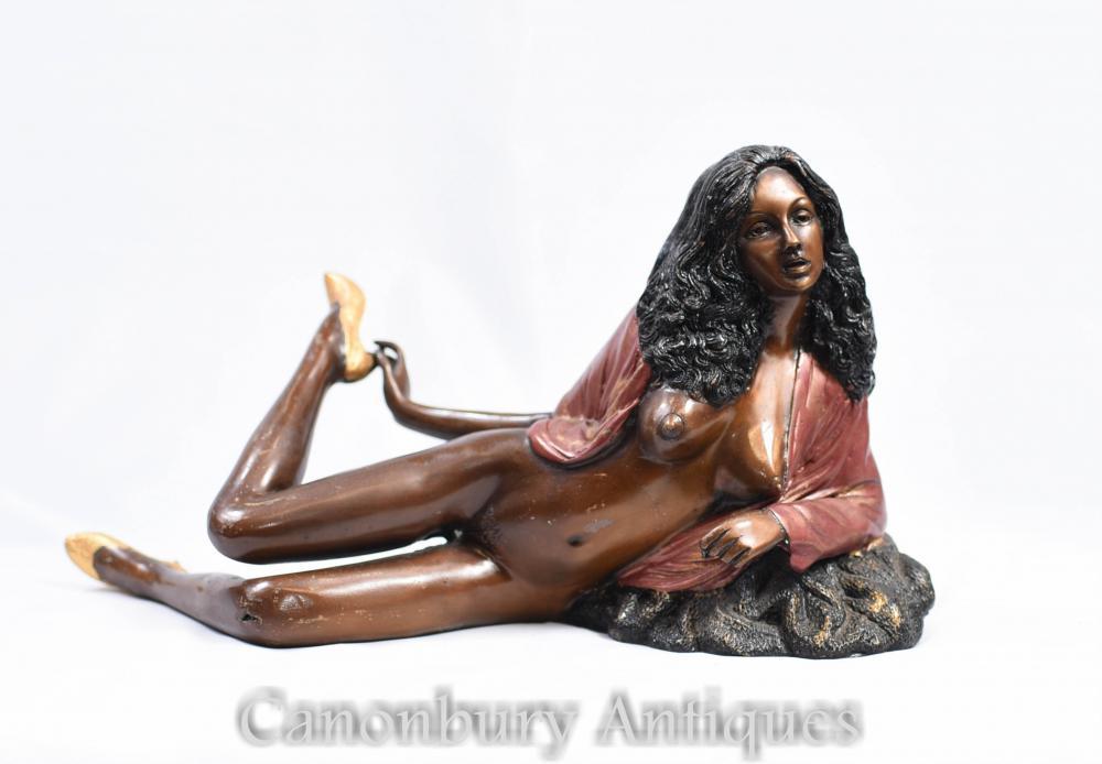 Bronze 70 Sexy Lady Semi Figurine Nue Erotica Kitsch
