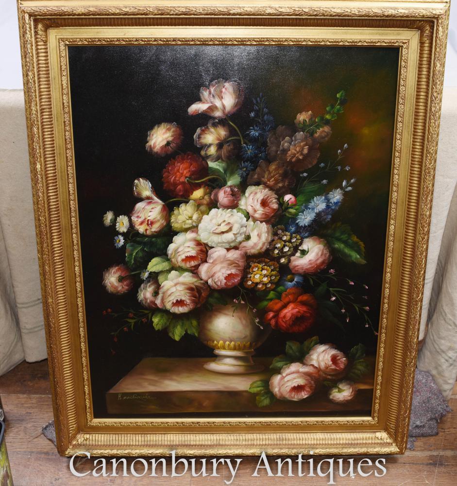 Grande fleur victorienne Afficher Nature morte Peinture à l'huile