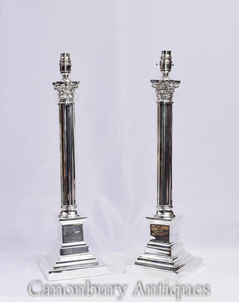 Paire de Lampes de Table à Colonne Corinthienne en Argent