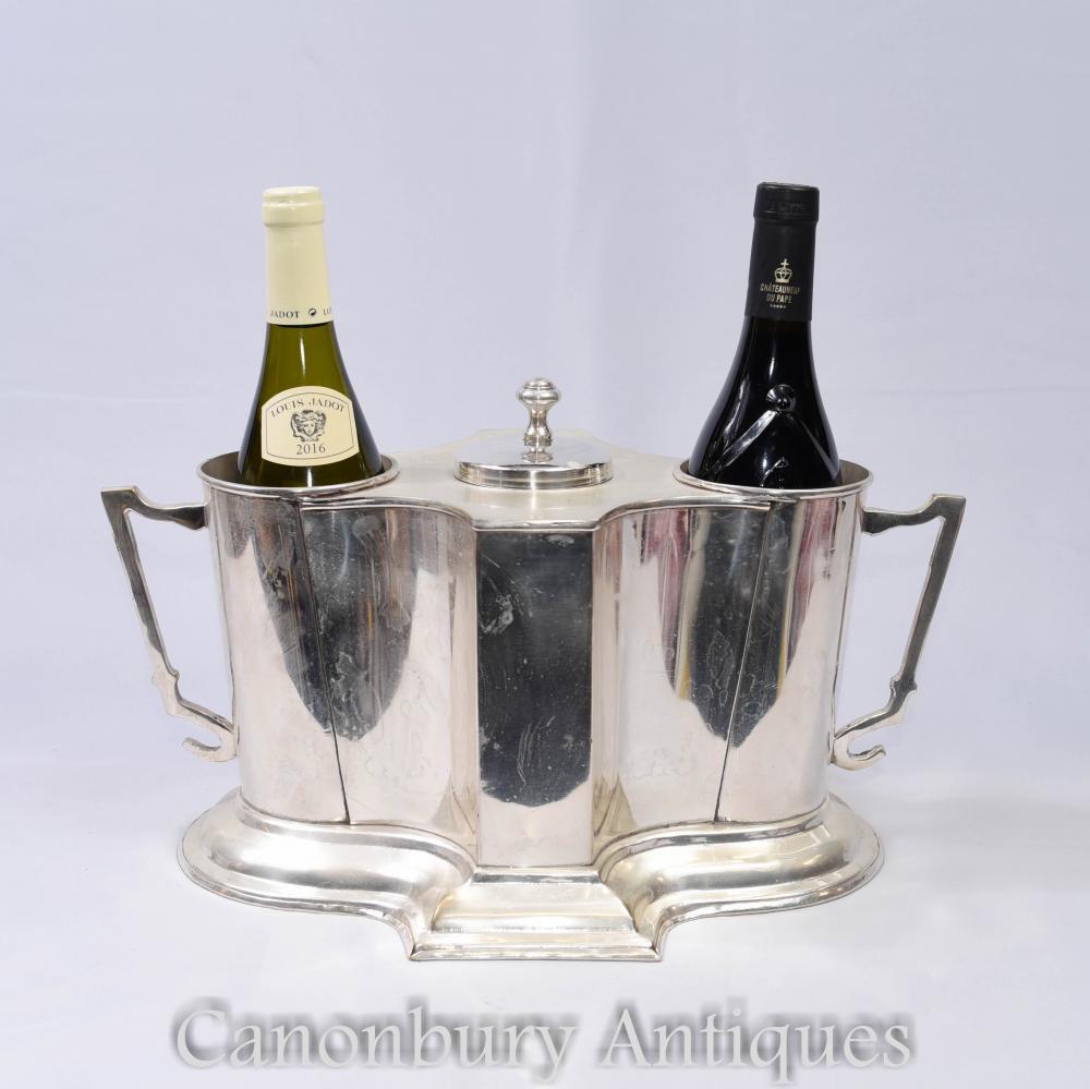 Refroidisseur de vin en plaque d'argent français Grand Cru Chateau