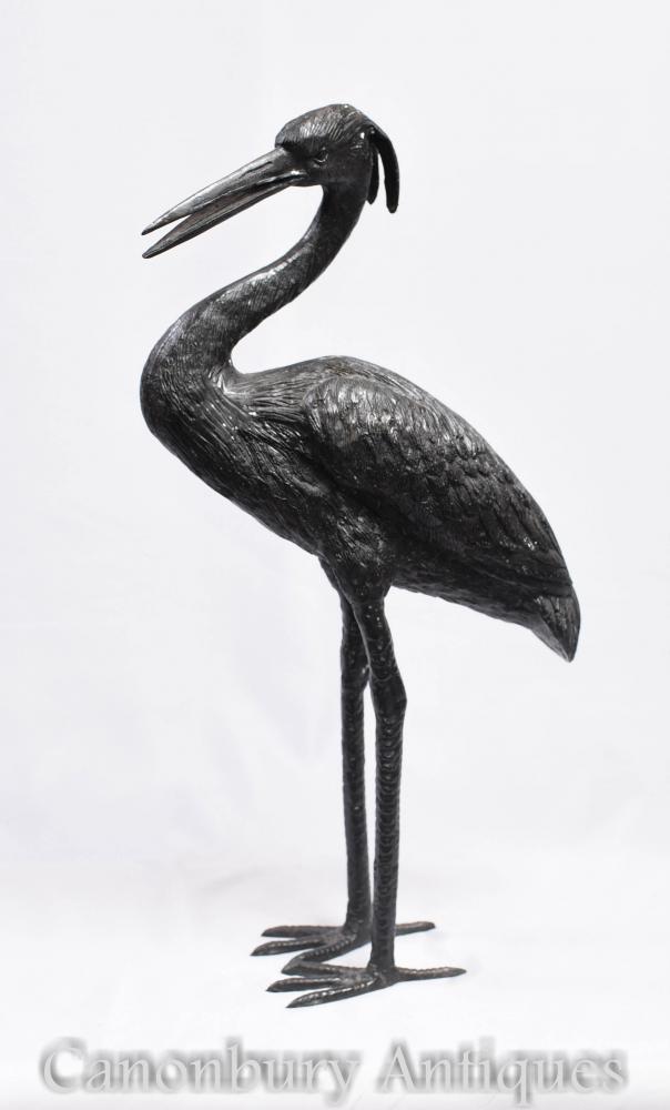 Statue d'oiseau de grue de bronze - Casting de cigogne