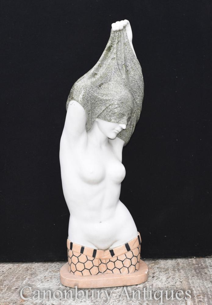 Buste en marbre italien déshabillant Figurine femme en demi-nu