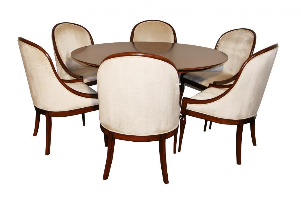 Ensemble de salle à manger Art déco en acajou - Table et six chaises