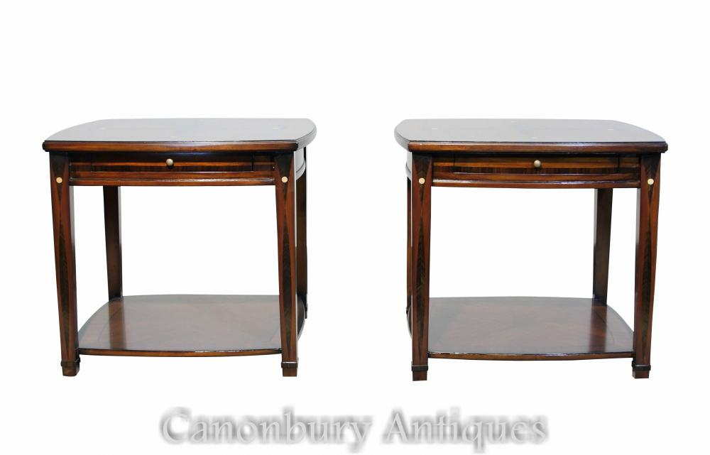 Paire De Tables d'Appoint Art Déco Marqueterie Inlay