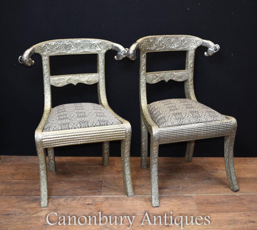 Paire de chaises en plaqué argent Regency French Sièges Rams Heads