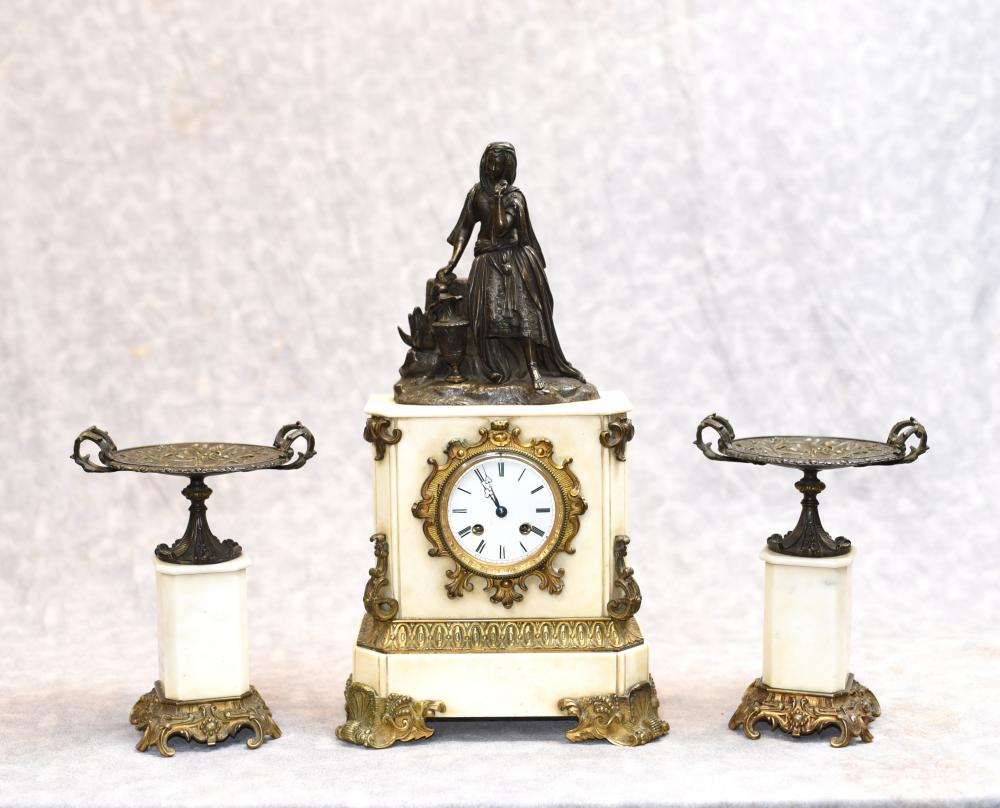 Empire Français marbre ciselé Mantle Clock Set Bronze Figurine