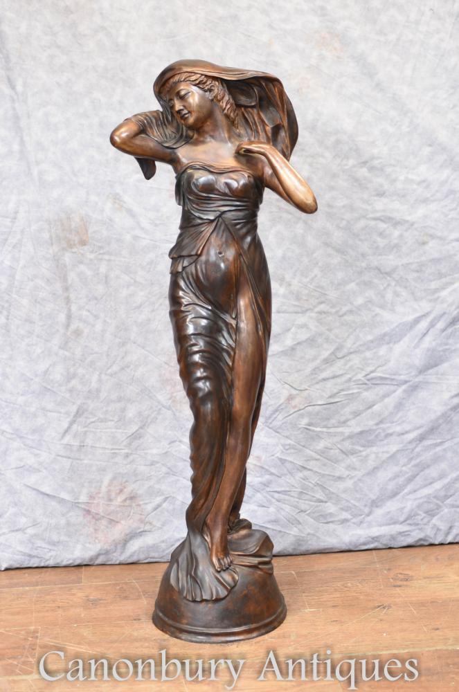 Figurine De Grande Statue Féminine En Bronze Art Nouveau