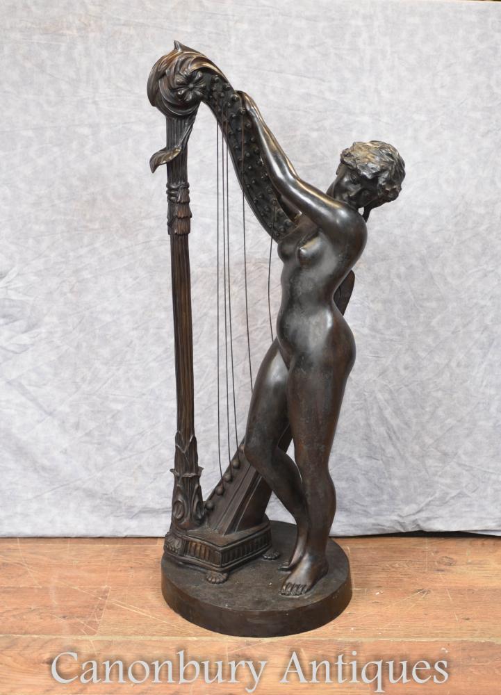 Joueur de harpe nue en bronze italien Art classique