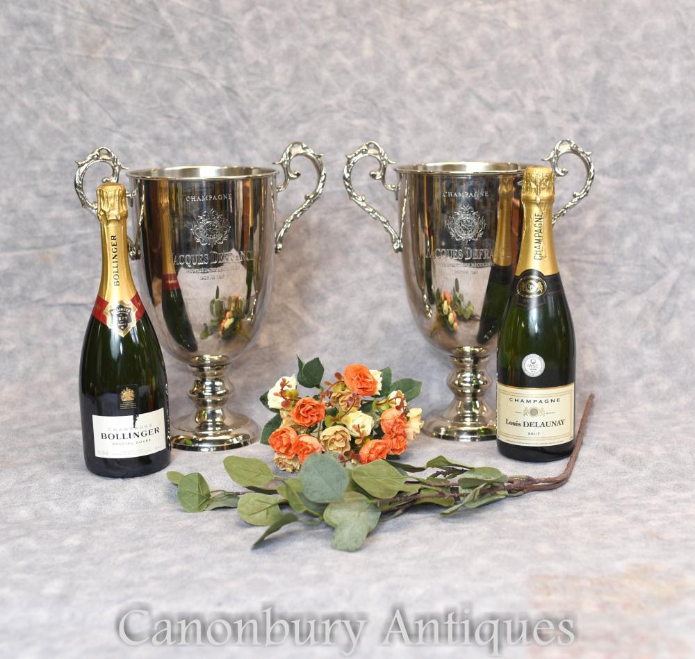 Paire De Glacières De Champagne Argent Plaqué Champagne Seaux Trophée