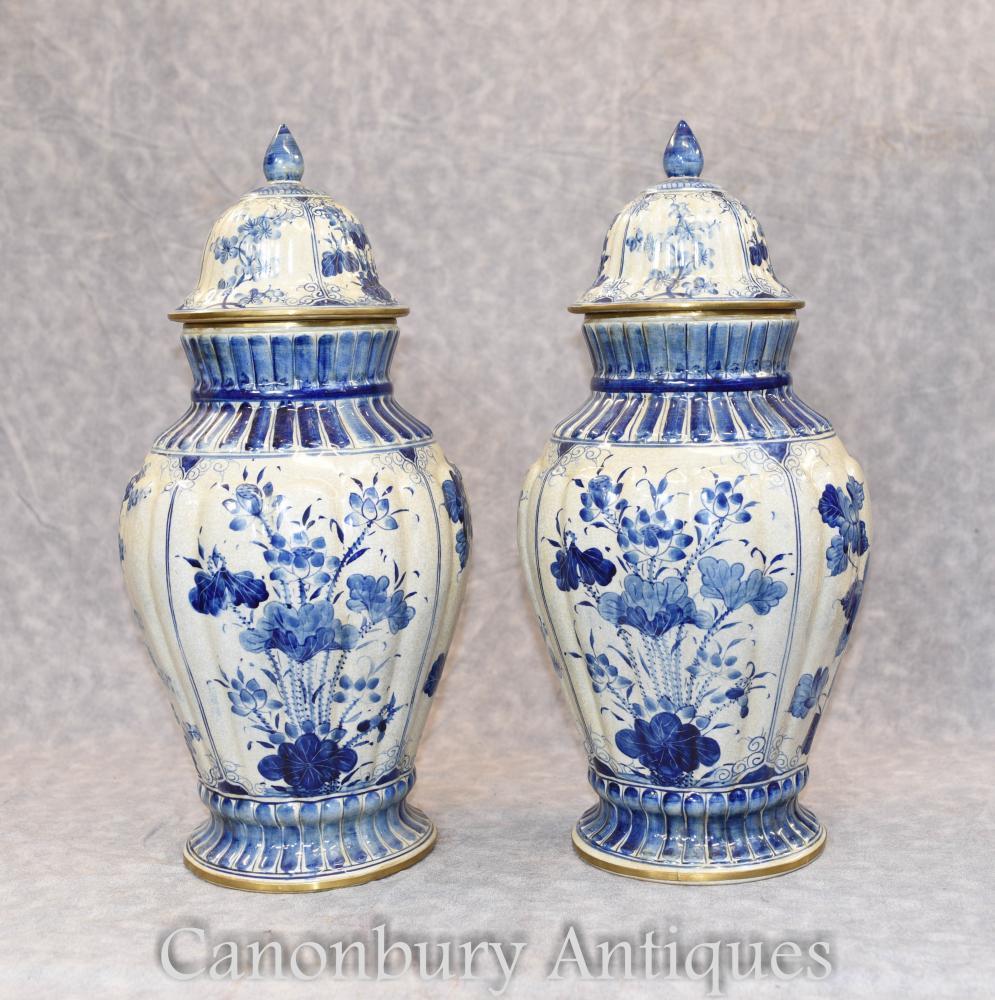 Paire de Nankin bleu et blanc porcelaine chinoise urnes Ginger Jars Vases
